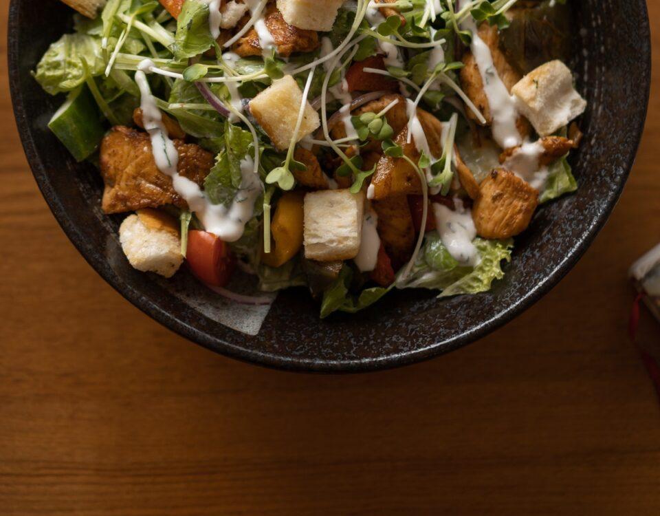 Croutons on salad